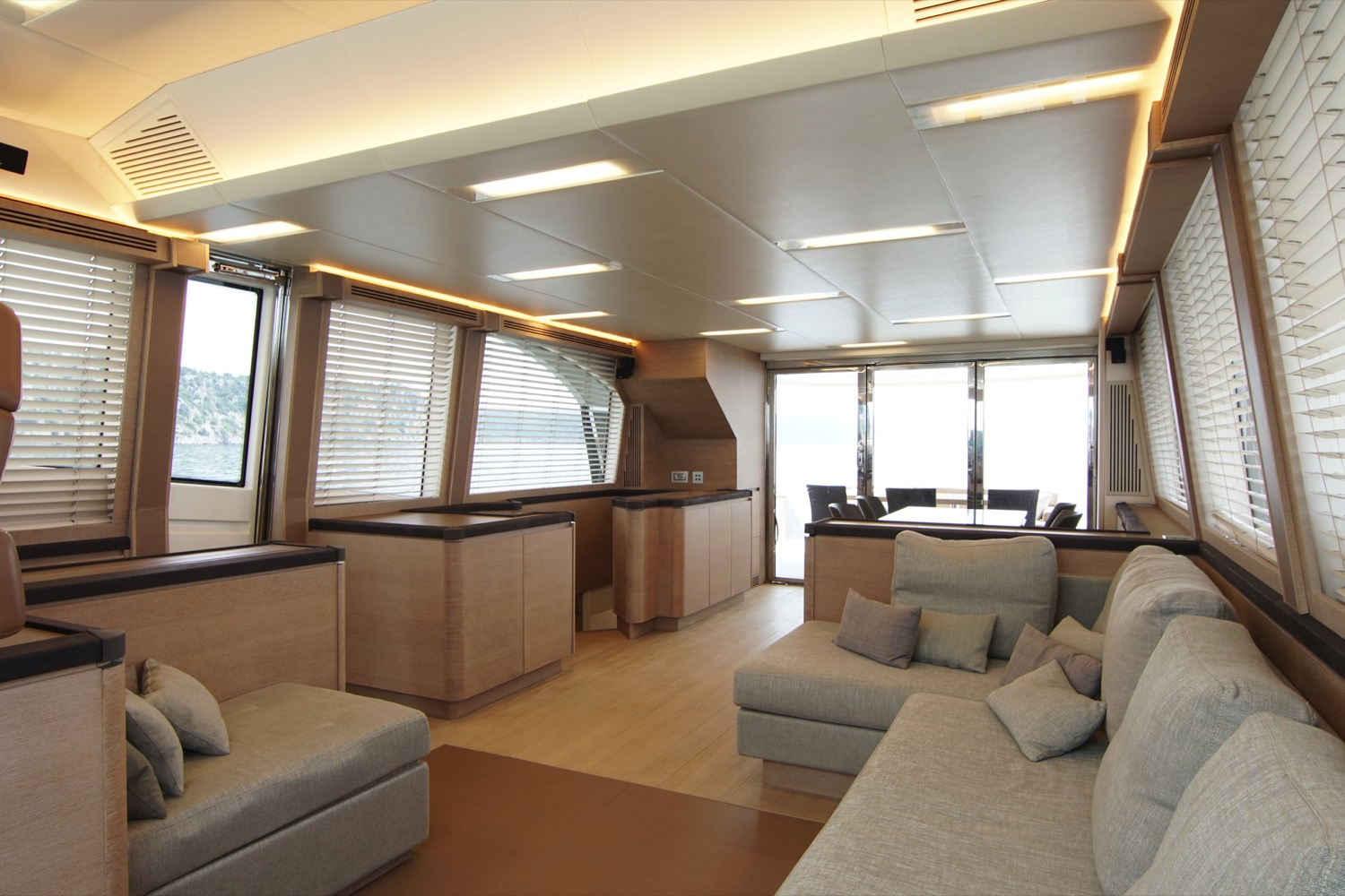 MCY 76 yacht for sale aft saloon view