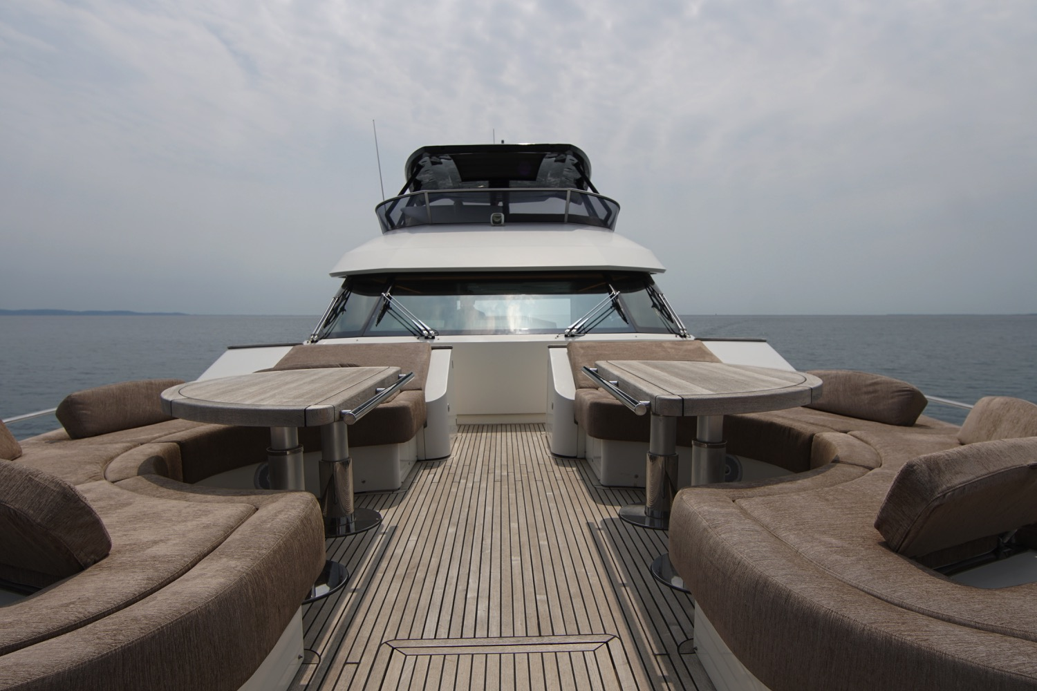 MCY 76 yacht for sale bow lounge